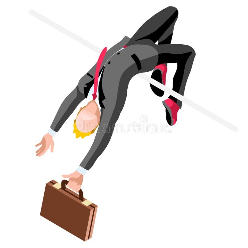 Ambitious business change Career Ambitions vector concept. Business concept infographic vector design. Businessperson 3D character flat ambitious man. Career royalty free illustration