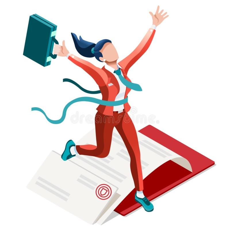 Ambitious business change Career Ambitions vector concept. Business concept infographic vector design. Businessperson 3D character flat ambitious woman. Career stock illustration