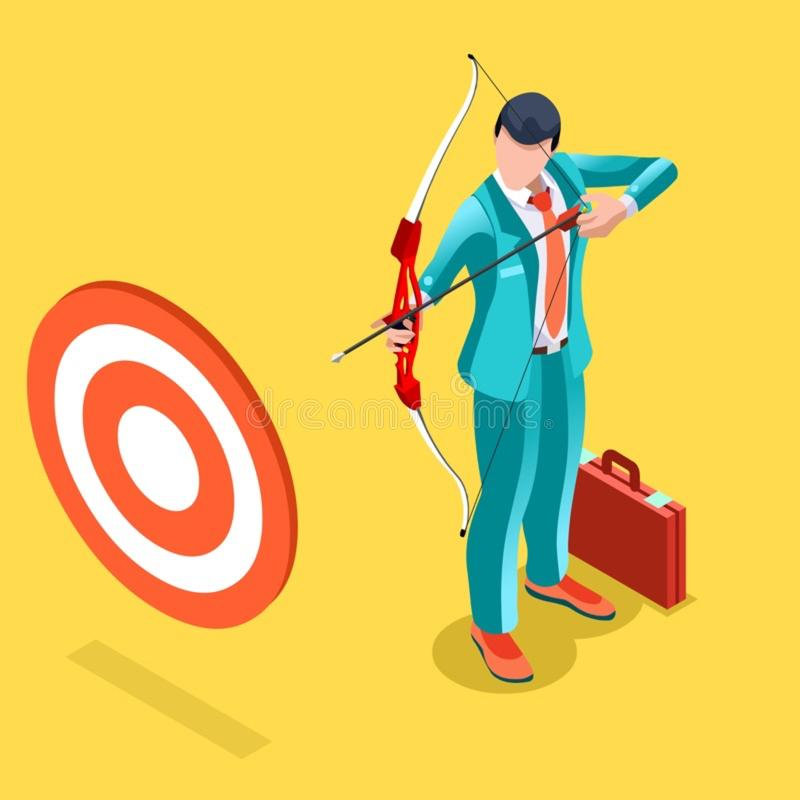 Ambitious business change Job Ambitions vector concept. Business concept infographic vector design. Businessperson 3D character flat ambitious man. Job ambition stock illustration