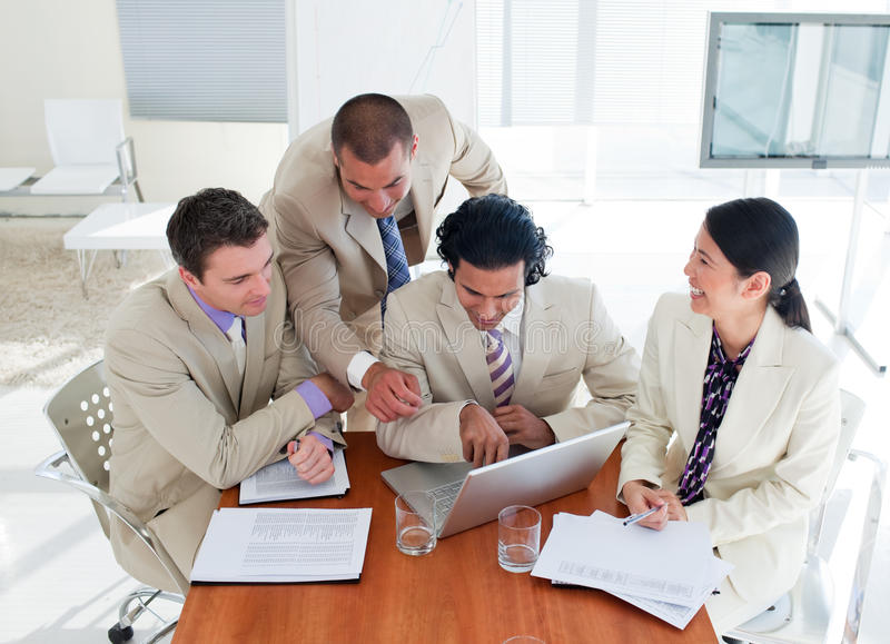 Download Ambitious Business Team Having A Brainstorming Stock Image - Image of finance, male: 12976165