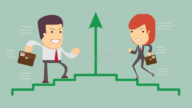 Ambitious cartoon people. Vector illustration of an ambitious cartoon business woman and man running on growing bar chart labeled success stock illustration
