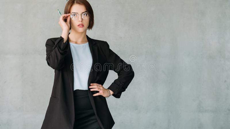 Ambitious corporate intern female copy space stock photos