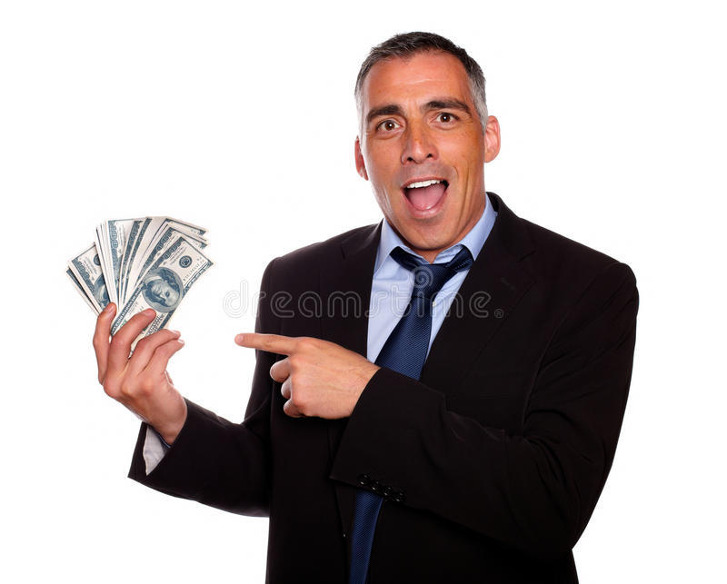 Ambitious executive holding cash money stock photo