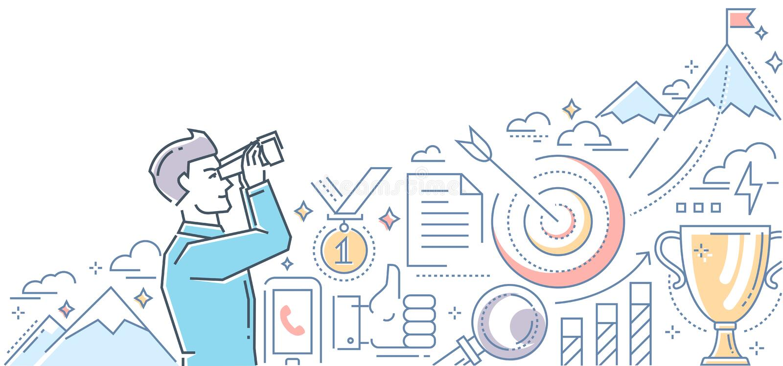Ambitious goals - line design style illustration. On white background. Colorful composition with a businessman looking through a binocular at the mountain top royalty free illustration
