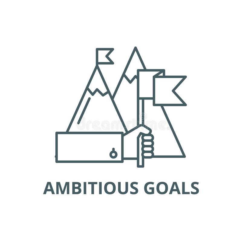 Ambitious goals line icon, vector. Ambitious goals outline sign, concept symbol, flat illustration. Ambitious goals line icon, vector. Ambitious goals outline royalty free illustration