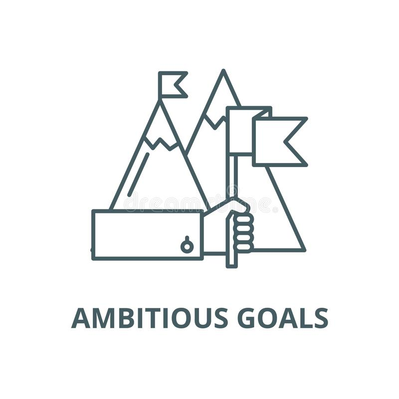 Ambitious goals vector line icon, outline concept, linear sign. Ambitious goals vector line icon, linear concept, outline sign, symbol stock illustration