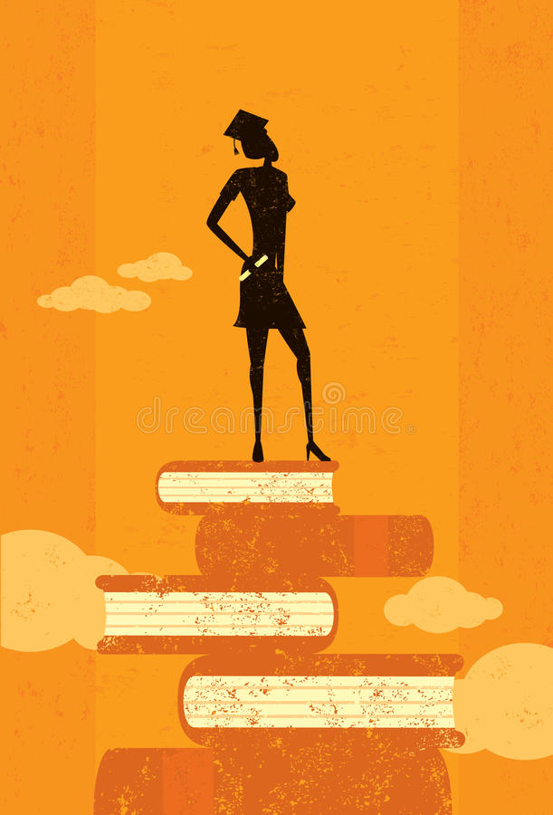 Ambitious Graduate. An ambitious graduate standing on books over an abstract sky background. The graduate and the background are on separate labeled layers stock illustration