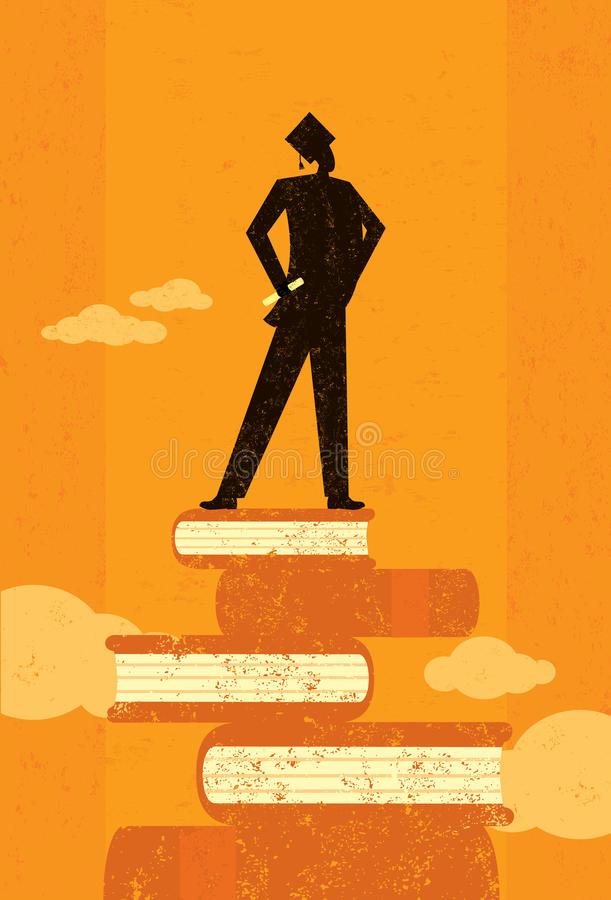 Ambitious Graduate. An ambitious graduate standing on books over an abstract sky background. The graduate and the background are on separate labeled layers vector illustration