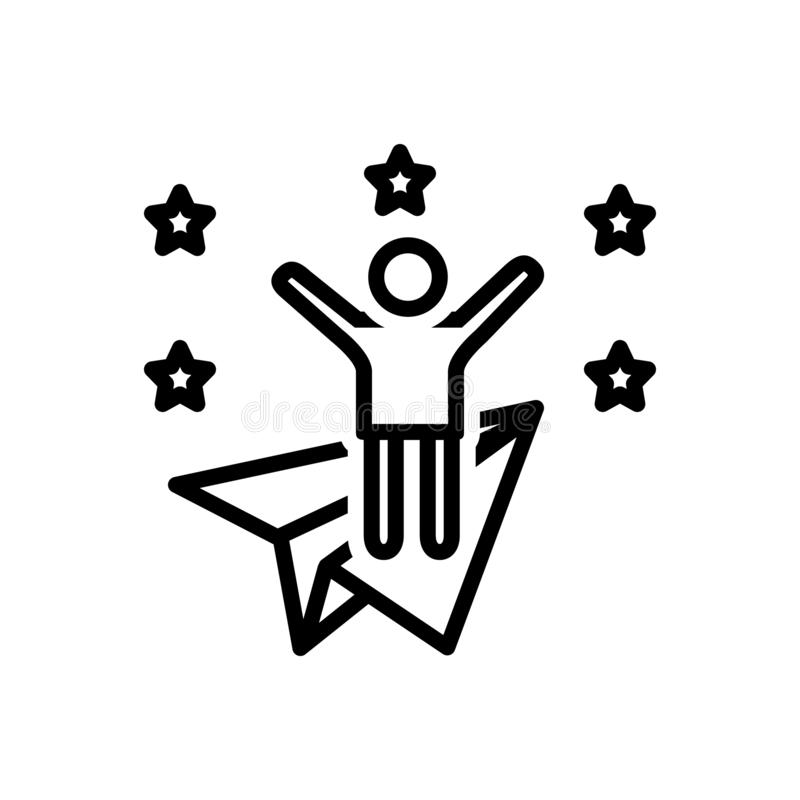 Black line icon for Ambitious, joyful and wishful. Black line icon for Ambitious, joyful, appentent, happy, personality and wishful royalty free illustration