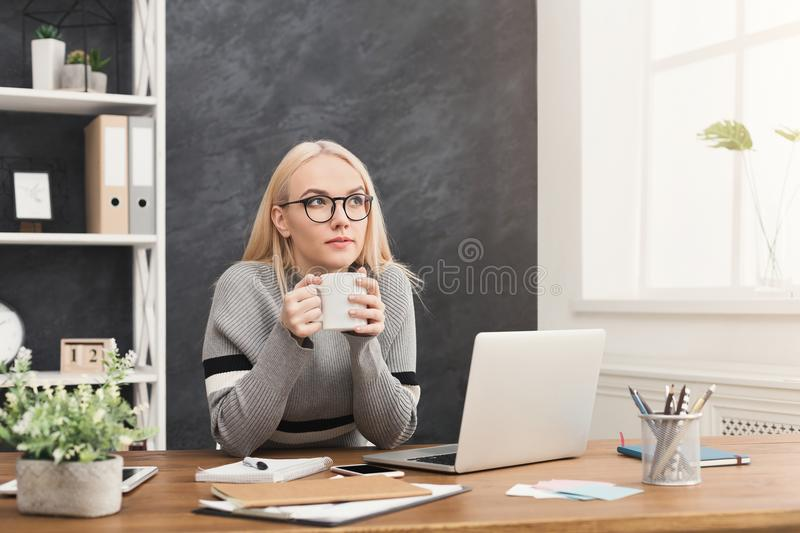Business woman thinking about successful strategy stock image