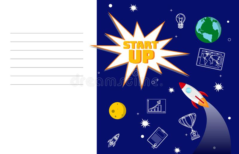 Ambitious Startup Planning Flat Color Illustration. Notebook Page, Cover with Empty Text Lines Template. Global Business Development Strategy. Rocket in Space vector illustration