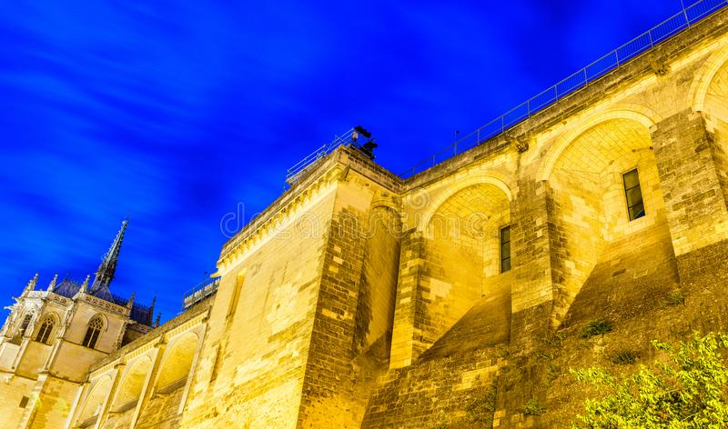 Amboise Castle at night, exterior view - France.  stock image
