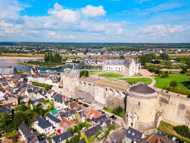 Amboise city aerial view, France royalty free stock images