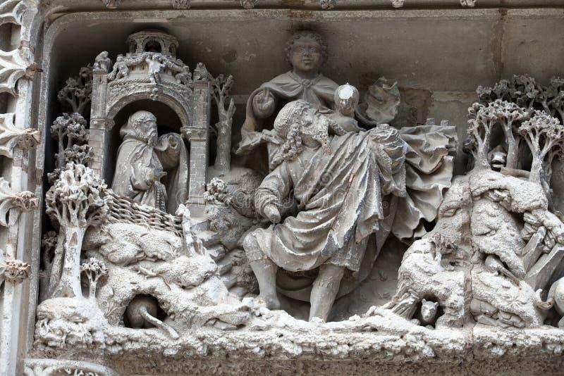 Amboise - Detail des späten gotischen Schnitzens auf der Kapelle von Heilig-Hubert lizenzfreies stockfoto