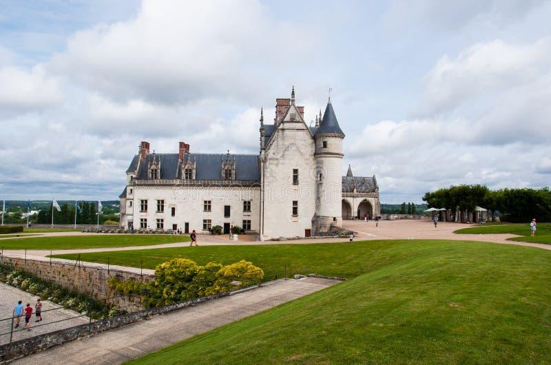 ` Amboise, en för Chateau D av de berömda slottarna av Loire Valley, Frankrike arkivbilder