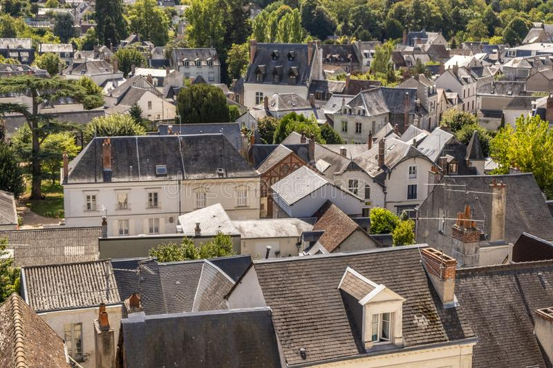 Panoramic view over roofs toward historic city center of Amboise, Loire valley, France. stock image
