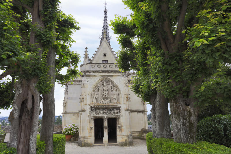 Amboise, gotische Kapelle Heilig-Hubert, Leonardo Da Vinci-Grab in Loire Valley stockbild