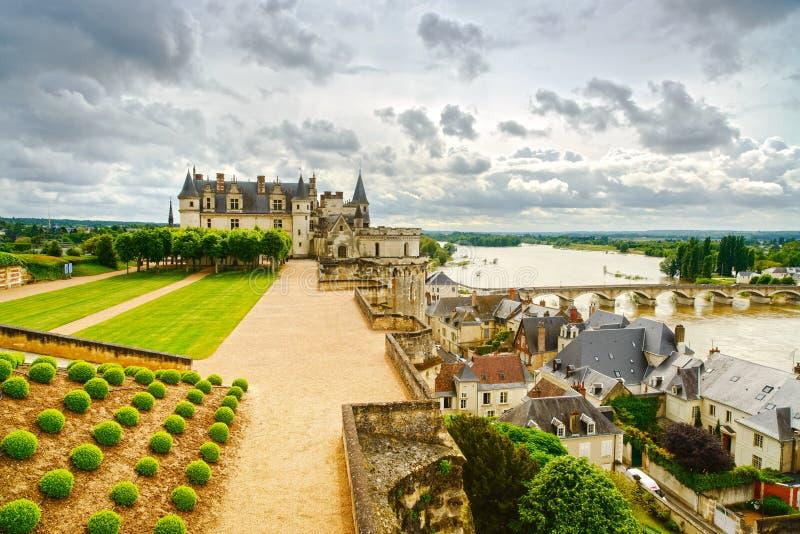 Amboise kasztel, rzeka most. Loire dolina, Francja fotografia stock