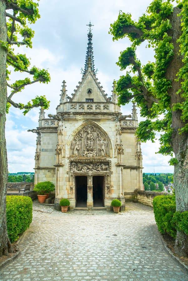 Amboise, Saint Hubert chapel, Leonardo Da Vinci tomb. Loire Valley, France. Amboise, Saint Hubert gothic chapel, Leonardo Da Vinci tomb. Loire Valley, France royalty free stock images