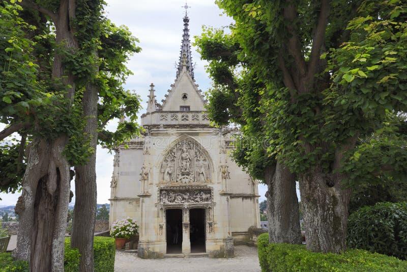 Amboise, Saint Hubert gothic chapel, Leonardo Da Vinci tomb in Loire Valley. France stock image