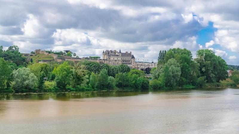 Amboise slott i Frankrike arkivbild
