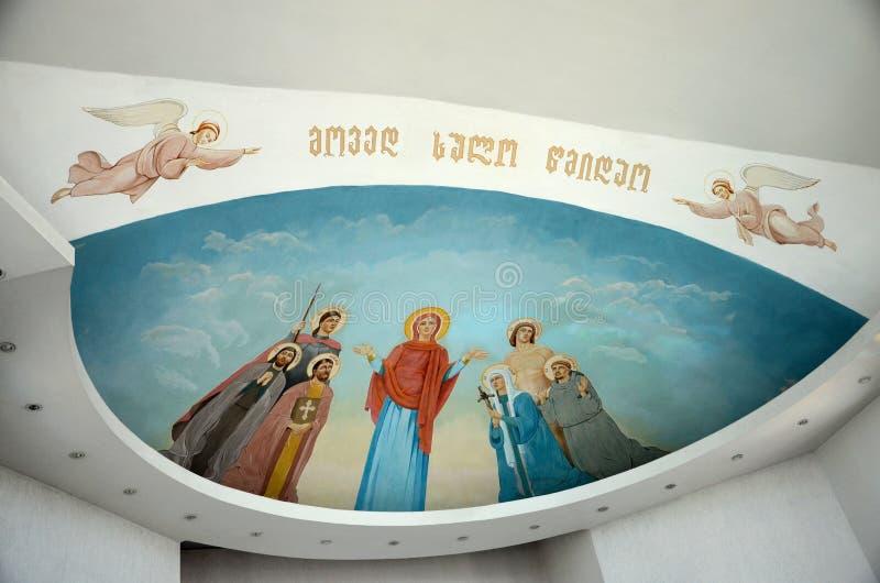 Ambona ołtarz i maryja dziewica sztuka podsufitowy teren kościół katolicki Batumi Gruzja zdjęcia royalty free
