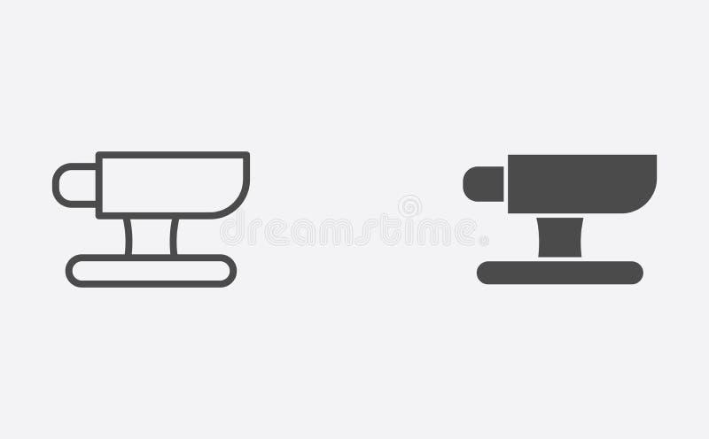 Ambossentwurf und gefülltes Vektorikonenzeichensymbol lizenzfreie abbildung