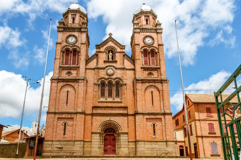 The cathedral of Fianarantsoa. The Ambozontany cathedral of Fianarantsoa, Madagascar highlands, africa, ancient, antiquity, architecture, attraction, betsileo stock photography