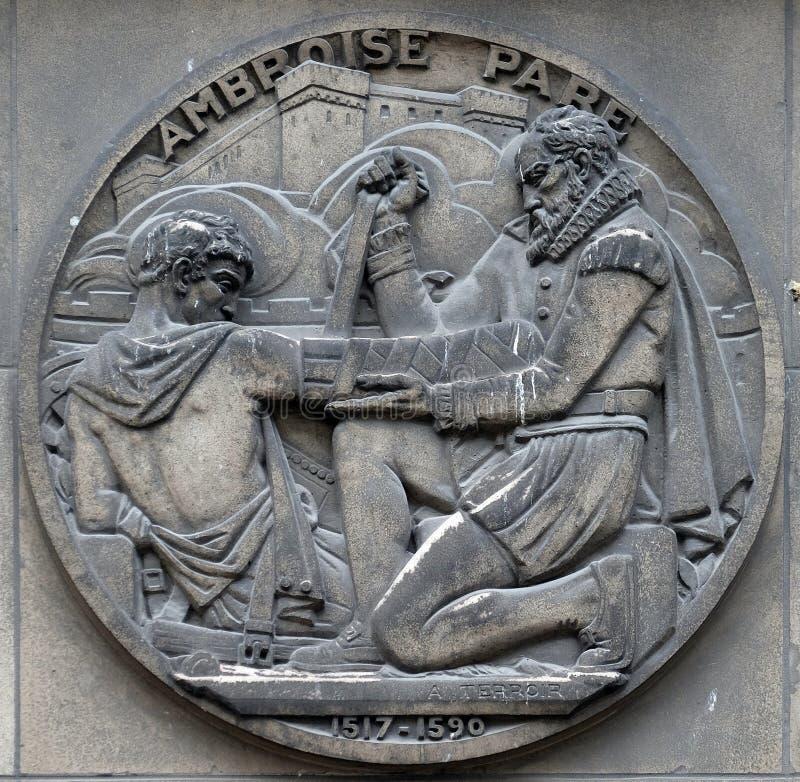 Ambroise Pare, Francuski fryzjera m?skiego chirurg, ojcowie operacja i nowo?ytna s?dowa patologia, zdjęcia stock
