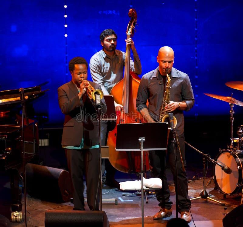 Ambrose Akinmusire Quintet performs live on 28th April Jazz. ESPOO,FINLAND-APRIL 26,2014 Ambrose Akinmusire Quintet performs live on 28th April Jazz. He won 2012 stock photo