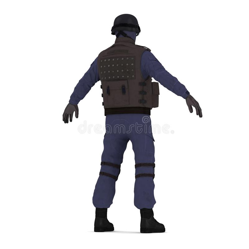 Ambtenaar van politie de speciale krachten in zwarte die eenvormig op wit wordt geïsoleerd 3D Illustratie royalty-vrije illustratie