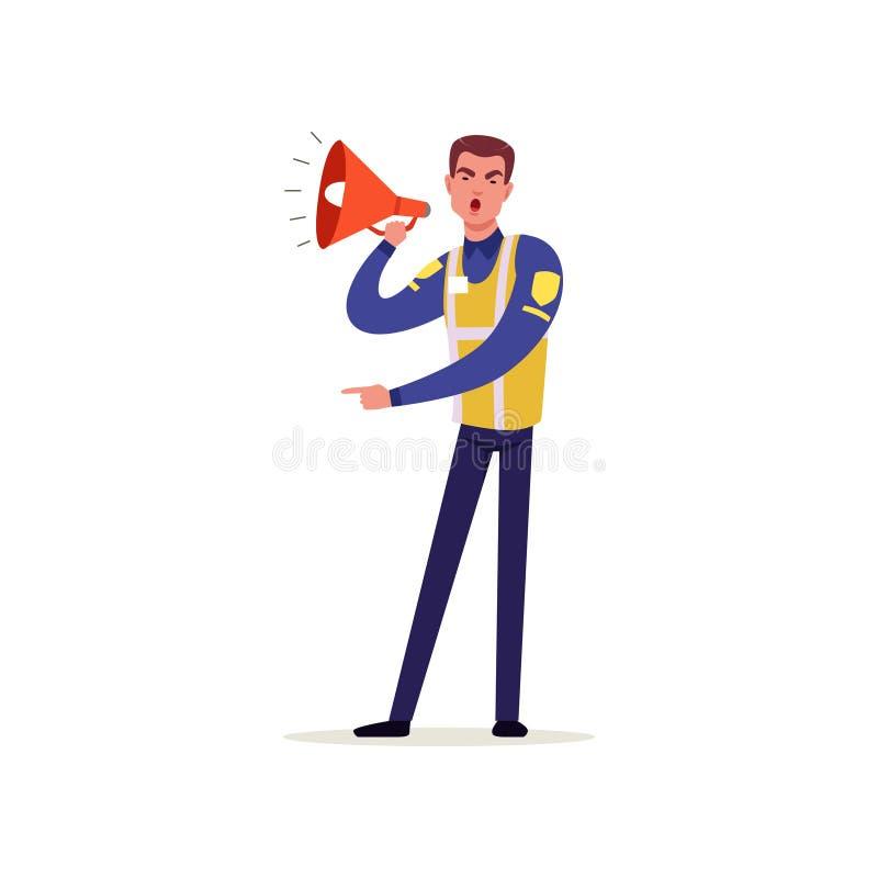 Ambtenaar van verkeerspolitie in eenvormig met hoog zichtvest die megafoon, politieagentkarakter bij het werkvector met behulp va royalty-vrije illustratie