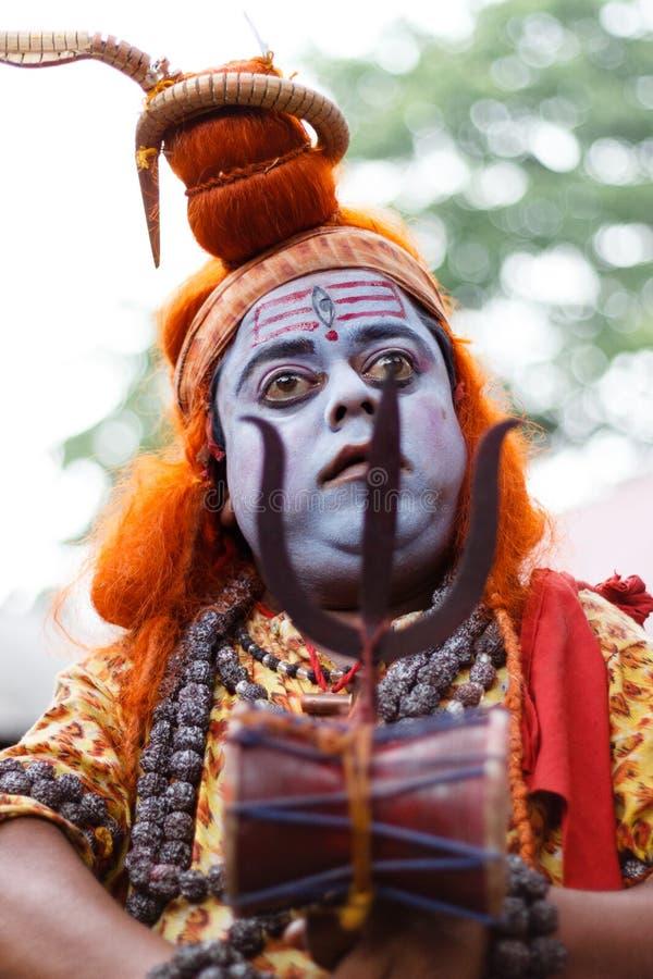 Ambubachi Mela 2014. A Sadhu, Hindu saint, dressed like Hindu God Lord Siva at Maa Kamakhaya Temple atop Nilachal Hills in Guwahati, the capital city of India stock images