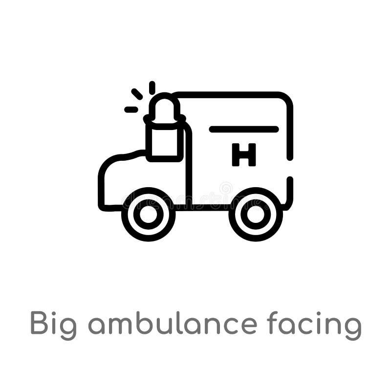 ambulância grande do esboço que enfrenta o ícone esquerdo do vetor linha simples preta isolada ilustra??o do elemento do conceito ilustração stock