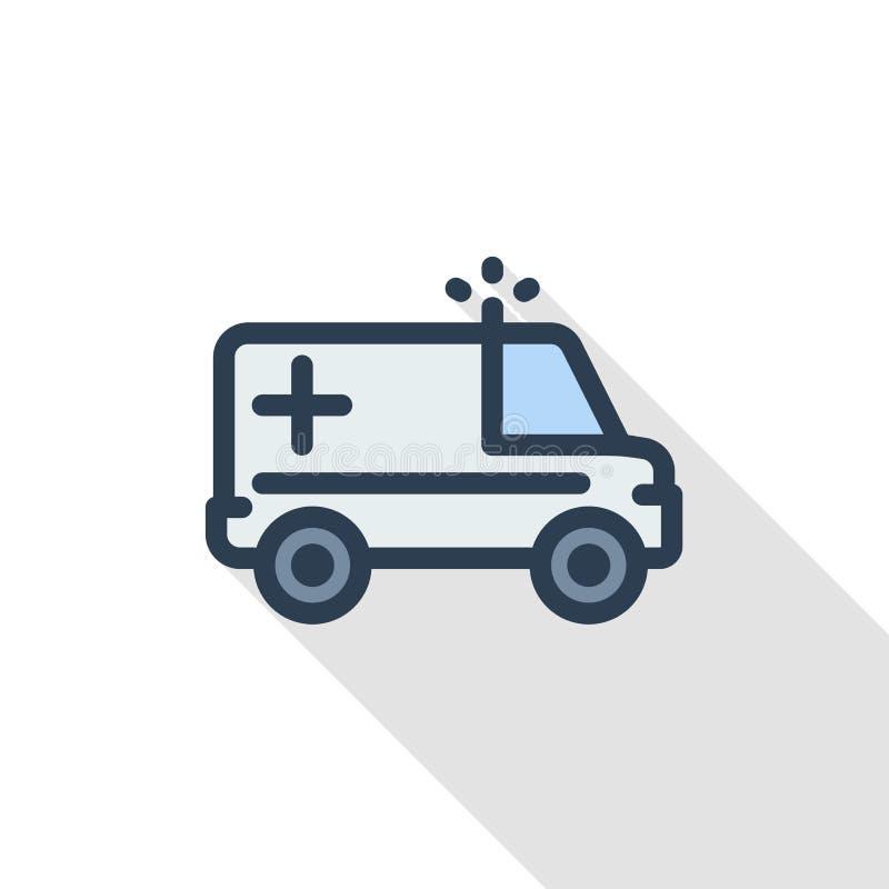Ambulância, linha fina ícone liso do carro médico da cor Símbolo linear do vetor Projeto longo colorido da sombra ilustração stock