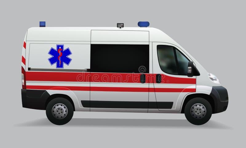 ambulância Veículos médicos especiais Imagem realística Graphhics do vetor ilustração do vetor