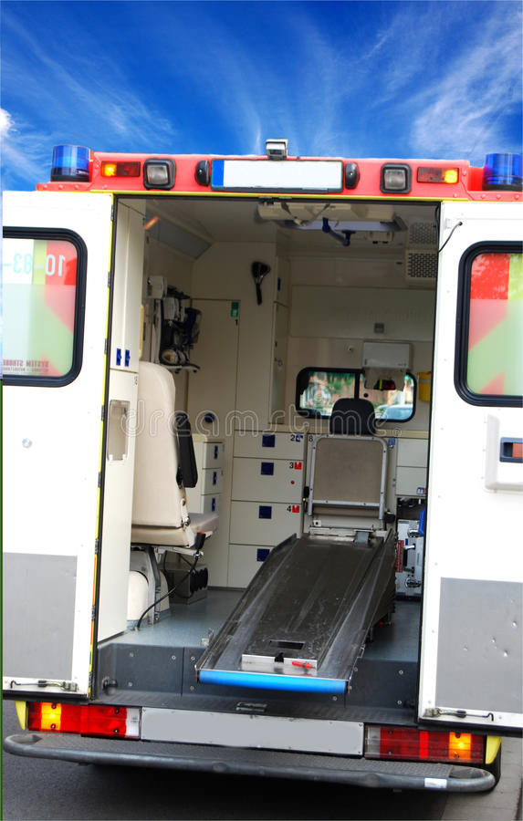 Ambulance. Car with open doors during an emergency royalty free stock photography