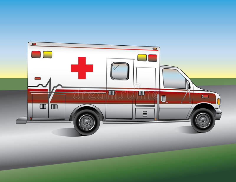 Ambulance. Vector Illustration of an Ambulance on a road stock illustration