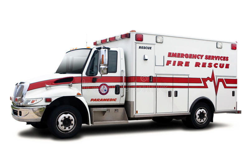 Ambulance. Fire Rescue Vehicle Isolated on White royalty free stock photography