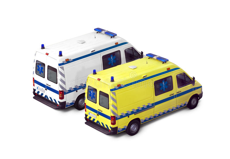 Ambulance. S side by side isolated on a white background royalty free stock images