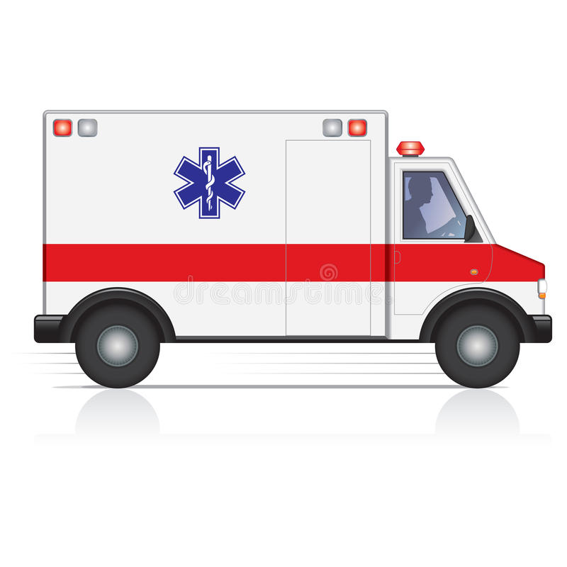 Ambulance. Side view of an ambulance in motion with a male driver silhouette royalty free illustration