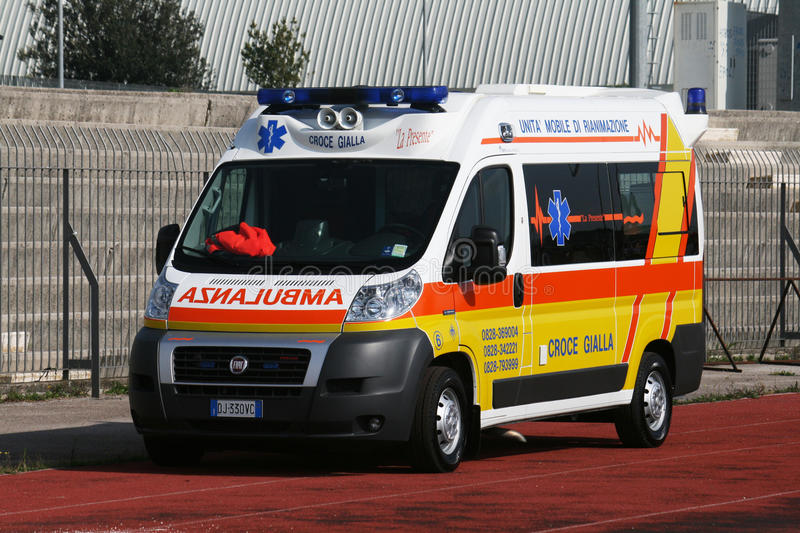 Ambulance. A italian ambulance ready to going to hospital stock image