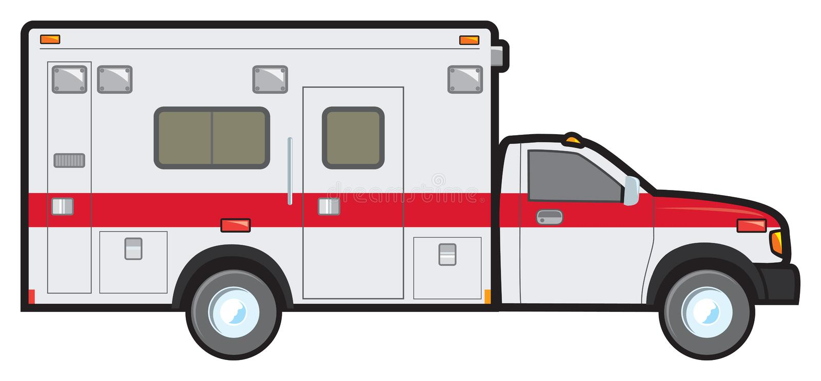 Ambulance. A common North American ambulance of the type found in local fire and resuce departments vector illustration