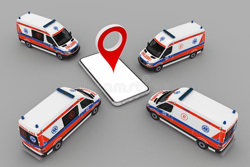 Ambulance band with smartphone and pin marker. 3d rendering royalty free illustration