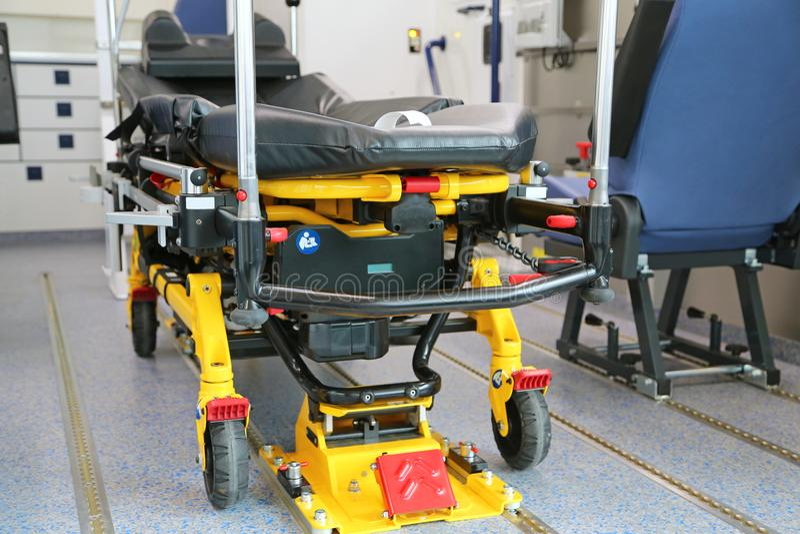 Ambulance_bed. Ambulance transport bed in vehicle royalty free stock photo