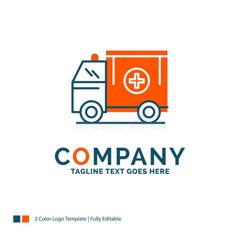 ambulance, camion, médical, aide, fourgon Logo Design Bleu et orang-outan illustration libre de droits