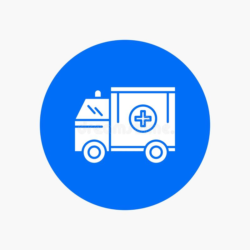 ambulance, camion, médical, aide, icône de van White Glyph en cercle Illustration de bouton de vecteur illustration stock