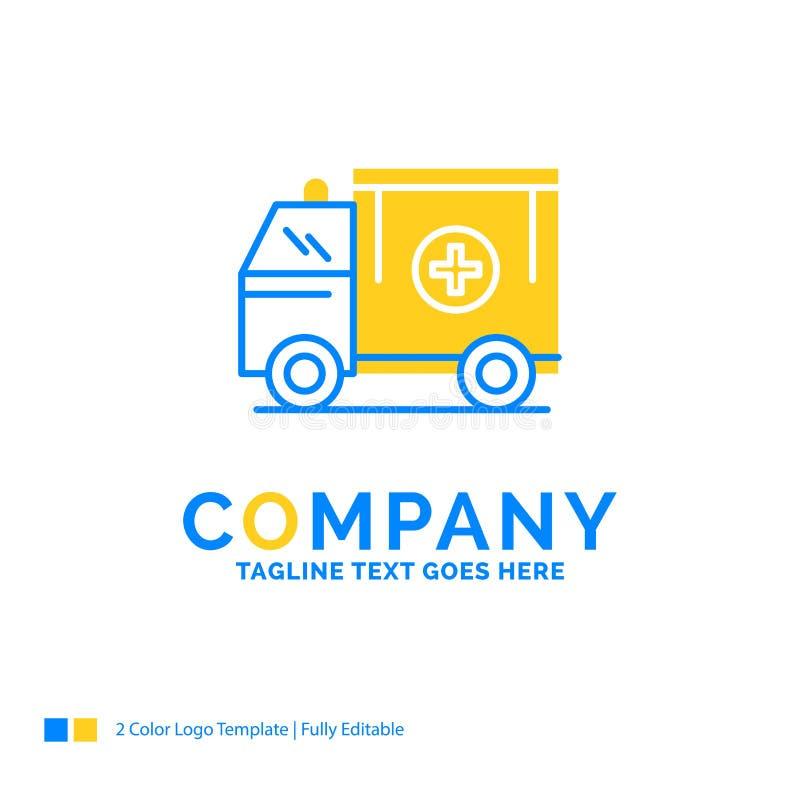 ambulance, camion, médical, aide, logo t d'affaires de van Blue Yellow illustration libre de droits