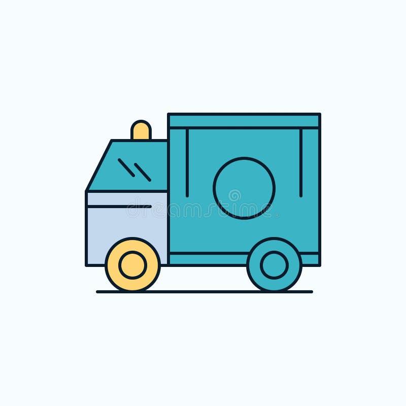 ambulance, camion, médical, aide, van Flat Icon signe et symboles verts et jaunes pour le site Web et l'appliation mobile Vecteur illustration libre de droits