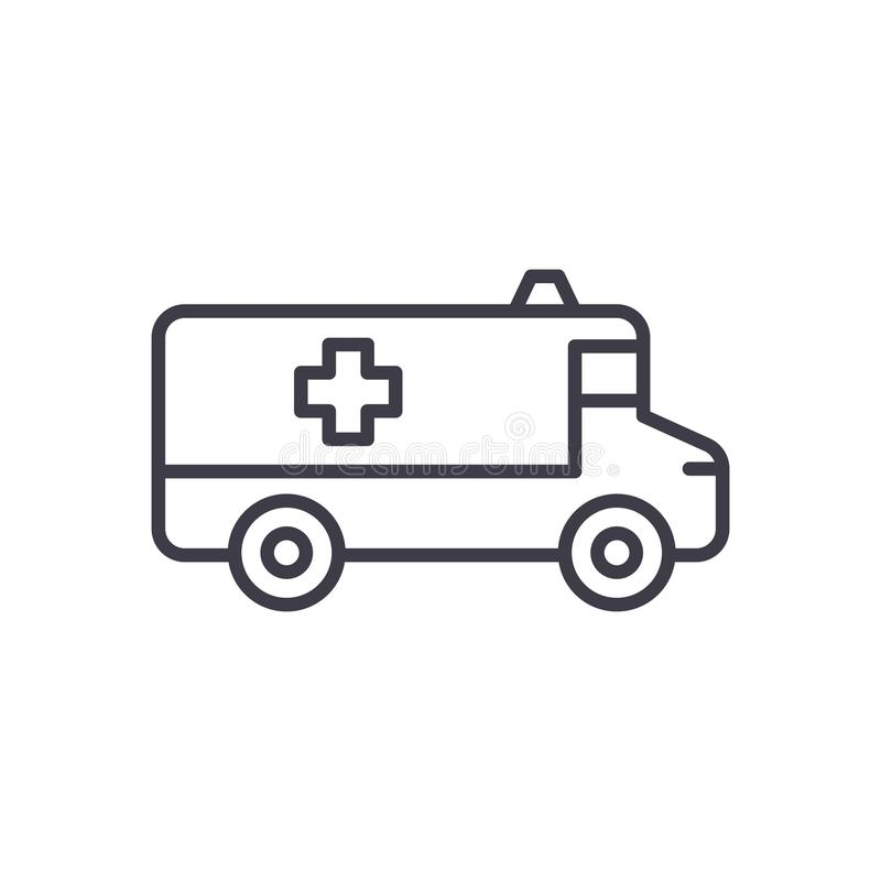 Ambulance car black icon concept. Ambulance car flat vector symbol, sign, illustration. royalty free illustration
